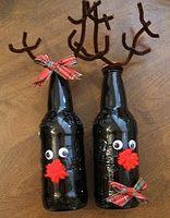 Rootbeer Bottles reindeer, christmas crafts, gift ideas, craft projects, beer bottles, wine bottles, neighbor gifts, root beer, kid