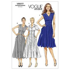 Vogue Ladies Easy Sewing Pattern 8577 Tea Dress with Pockets Vogue Patterns, Easy Sewing Patterns, Vintage Sewing Patterns, Clothing Patterns, Skirt Patterns, Blouse Patterns, Retro Mode, Miss Dress, Sewing Clothes