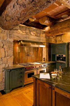 Rustic bark log kitchen