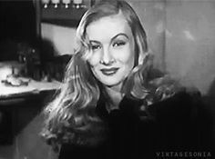 For the U.S. News Review, Veronica Lake changes her trademark peekaboo hairstyle to encourage women working in war industry factories to adopt more practical, safer hairstyles. [X]