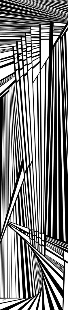 """tenth - dynamic black and white, optical obsession, virtual shattered glass - original 21"""" x 96"""" - http://fineartamerica.com/featured/tenth-douglas-christian-larsen.html"""