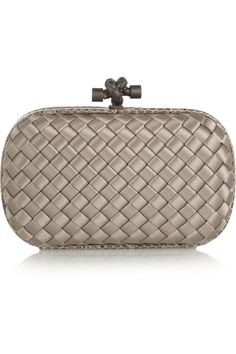 Bottega Veneta | The Knot mini intrecciato satin and ayers clutch | NET-A-PORTER.COM