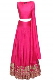 Pink mithu embroidered crop top and lehenga set