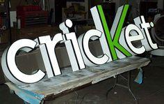 Cricket channel letter sign in production design at SignDealz.com