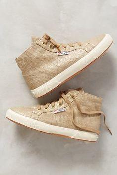 Superga Shimmered Linen High-Tops Gold 8.5 Shoes