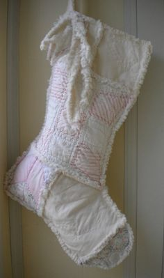 Rag Cutter Quilt Stocking Vintage Christmas by Snipitup on Etsy, $36.00