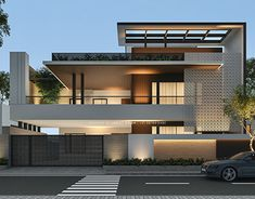 Elevation designed for client at Raipur, Chattisgarh House Structure Design, House Front Wall Design, House Outside Design, Design Your Dream House, Facade Design, Modern Exterior House Designs, Modern House Facades, Modern Villa Design, Latest House Designs