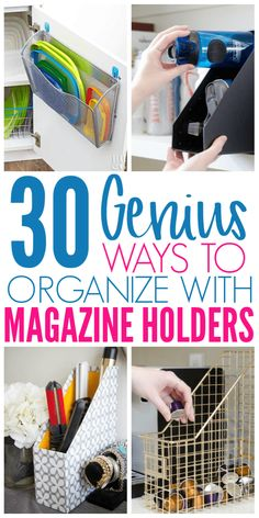 diy organization 30 Clever Ways to Organize With Magazine Holders - Organization Obsesssed Organisation Hacks, Kitchen Organization, Storage Organization, Kitchen Storage, Magazine Organization, Dollar Tree Organization, Bedroom Organization, Diy Organizer, Declutter Your Home