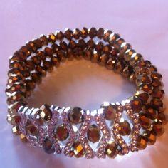 Light-Brown-Crystal-Bead-Bracelet