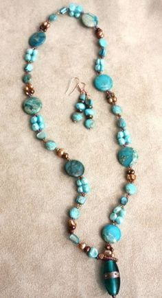 Terrific in Teal by TTE Designs on Art Fire  $28 Gemstone Necklace, Necklace Set, Turquoise Necklace, Beaded Necklace, Jewelry Ideas, Jewelry Design, Anklets, Beaded Jewelry, Beading