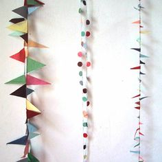 Garlands aren't only for parties, they're a super easy DIY that can liven up a mantelpiece, bay window or any spot in your house that needs a little pop of seasonal color. Diy And Crafts, Arts And Crafts, Paper Crafts, Diy Pompon, Do It Yourself Baby, Bunting Garland, Buntings, Garland Ideas, Fabric Garland