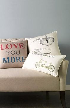 """Love you more"" pillow for Valentine's Day."