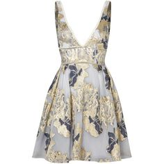 Marchesa Notte Metallic Floral Cocktail Dress (1,685 INR) ❤ liked on Polyvore featuring dresses, white dress, floral print dress, flower pattern dress, flower printed dress and metallic dress