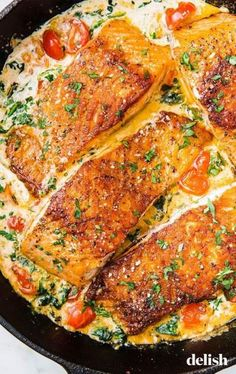 Salmon recipes 20055160827345171 - Tuscan Butter Salmon Is An Impressive Dinner That ANYONE Can MakeDelish Source by thenovicechef Salmon Dishes, Fish Dishes, Salmon Meals, Seafood Recipes, Cooking Recipes, Healthy Recipes, Italian Fish Recipes, Recipes For Fish, Cooked Shrimp Recipes