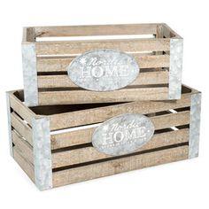 2 caisses en bois L 32 et L 39 cm HOME
