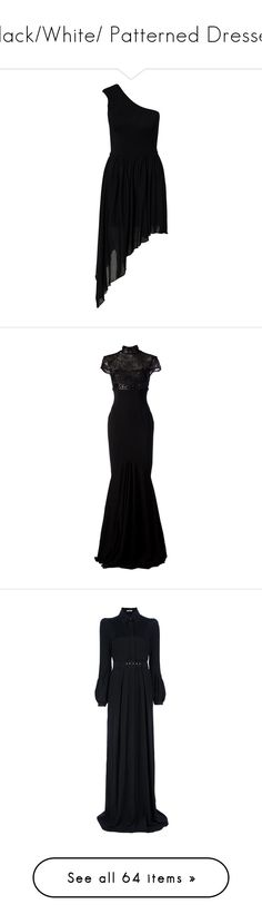 """""""Black/White/ Patterned Dresses"""" by drskullz on Polyvore featuring dresses, vestidos, off the shoulder dress, sleeveless dress, off shoulder dress, no sleeve dress, gowns, long dresses, black and beaded evening dress"""