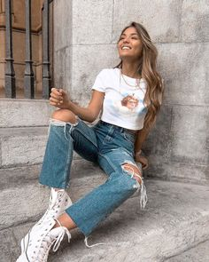 Trendy Outfits, Fall Outfits, Summer Outfits, Cute Outfits, Look Fashion, Teen Fashion, Fashion Outfits, Denim Shorts Outfit, Denim Jeans