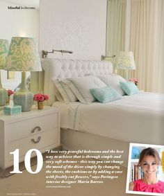Bedroom idea: Blissful/restful space with soft pastels. LOVE the tufted headboard