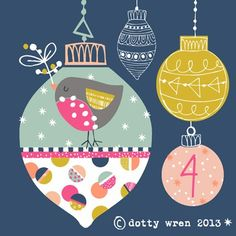 Day 4 brings a dotty wren bauble for your tree...our tree is up, I've gone for a prelit blossom tree with the teeny tiniest of baubles th...