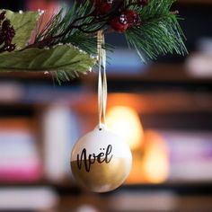 Excited to share the latest addition to my #etsy shop: Noel Handmade Hand Painted Calligraphy Ceramic Christmas Bauble