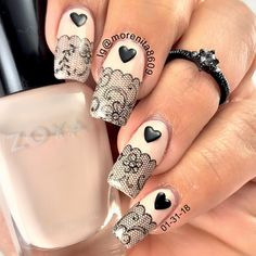 Black lace over nude nails... getting ready for Valentine #nails #blacklace #nailart #zoya #nailstamping #nailstyle #uñas #diseñodeuñas #style #fashion #uñasestampadas #nudenails