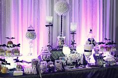 A beautiful party table done in crystal and bling for a teenage girl...accents in any color