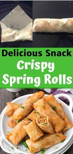 Vegetarian Spring Rolls, Healthy Spring Recipes, Vegetarian Snacks, Spring Roll Recipes, Homemade Spring Rolls, Vegetable Spring Rolls, Easy Spring Rolls, Chinese Spring Rolls, Spicy Recipes