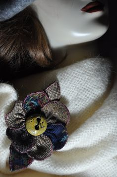 tapestry tweed coat pin donegal irish cape pin brooch OOAK handmade corsage navy blue jacket scarf wrap coat hat flower 12 cm fabric button by edgeofthesand on Etsy Wrap Coat, Scarf Wrap, Brooches Handmade, Handmade Gifts, Coat Pin, Hat Flower, Wool Cape, Tweed Coat, Donegal