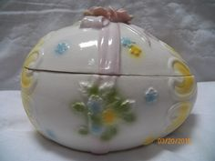 Vintage Lefton Easter Egg Box Exclusive Japan Floral Trinket Box Red Foil Label