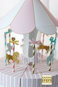 Oooh La La Pink, Teal and Gold Merry-Go-Round Favor Box Centerpiece Set