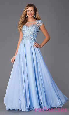 Lace Embellished Floor Length Cap Sleeve Dress at PromGirl.com