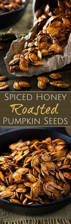 Spiced Honey Roasted Pumpkin Seeds   Waste not, want not... turn leftover pumpkins into a delicious treat! These roasted pumpkin seeds are deliciously savory, with hints of spice and honey!