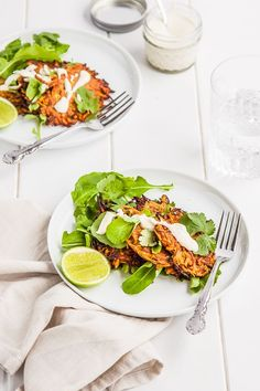 Sweet Potato Fritters with Lime Cashew Cream  {gluten free + dairy free}| DeliciousEveryday.com