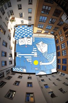 French illustrator Thomas Lamadieu photographs vertical views of the spaces between buildings which he uses as a canvas for his comical illustrations Art And Illustration, Art Illustrations, Ciel Art, Art Public, Street Art, Sky People, Illustrator, City Sky, Grafiti