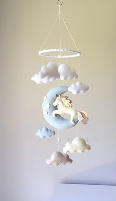 Baby mobile - unicorn mobile - baby mobile unicorn - moon mobile - moon clouds mobile - baby mobile clouds : Baby mobile unicorn mobile baby mobile by lovefeltmobiles Baby Must Haves, Baby Decor, Nursery Decor, Felt Crafts, Diy And Crafts, Bebe Video, Baby Toys, Unicorn Mobile, Ornament Pattern