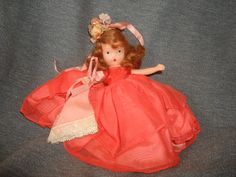 "NASB NANCY ANN Storybook Doll ~ Bridesmaid or Southern Belle ~ Coral / Orange Organza Dress ~ 5-1/2"" Bisque Doll Stiff Legs by PastPossessionsOnly on Etsy"