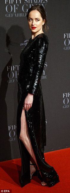 Sparkle all night long in a sequined gown like Dakota. Click 'Visit' to buy now. #DailyMail