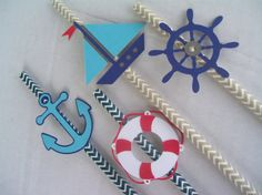 Nautical+Party+StrawsSet+of+12Nautical+by+JudeBugsBabySweets,+$15.00
