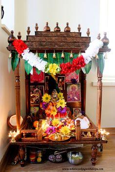 Pooja Mandir - What's Cooking with Deepu ! Diwali Decorations At Home, Festival Decorations, House Decorations, Mandir Decoration, Ganesha Rangoli, Prayer Crafts, Diwali Pooja, Temple Design For Home, Mandir Design