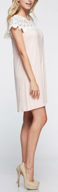 """Our Gabby Dress is luxe with lace. Short sleeve tunic dress. Lace detailing on top. Length: 33"""". 95% Rayon, 5% Spandex."""