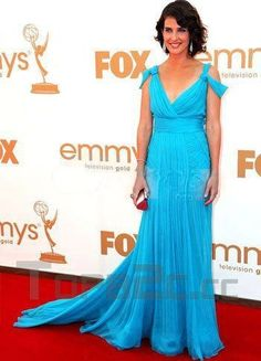 Blue Cobie Smulders V-Neck Sweep Chiffon Emmy Awards Dress
