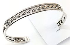 Sterling Silver Native American Navajo Indian Twist Cuff
