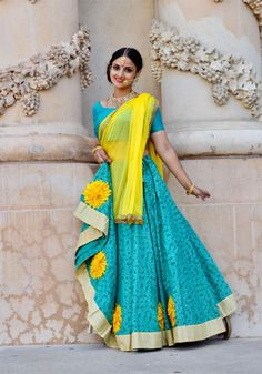 Gopi Skirt Outfits or Lehenga are the most popular Indian wear or Indian Dress in Indian Fashion. Also known as Half Saree or Lehenga Saree or Lehenga Choli or Garba skirts Indian Dresses, Indian Outfits, Lehenga Saree, Lehenga Skirt, Navratri Dress, Choli Designs, Traditional Fashion, Half Saree, Rock