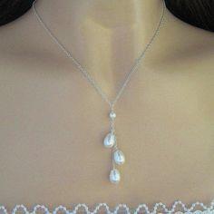 Collar de perlas Triple gota perla novia collar de por JaniceMarie