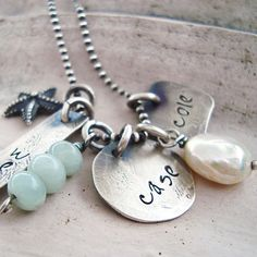 I want for mothers day!  hand stamped mothers shabby chic jewelry hand by CremeDeLaGems, $68.00
