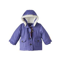 Baby Girl Carter's Hooded Parka Jacket, Size: 18 Months, Purple