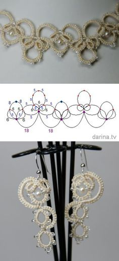 """Olga"" scheme wedding necklaces and earrings (Ankars, tatting) 