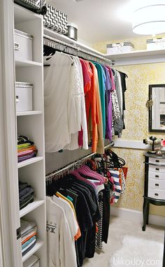 Master Closet Makeover and Stenciling a Glam Wall.