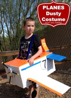 Disney Planes Costume - Make your own homemade Dusty Halloween costume from Disney's Planes movie using a cardboard box and duck tape.