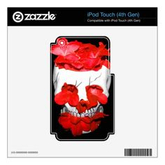 Red Flowers In A Skull iPod Touch 4G Decals